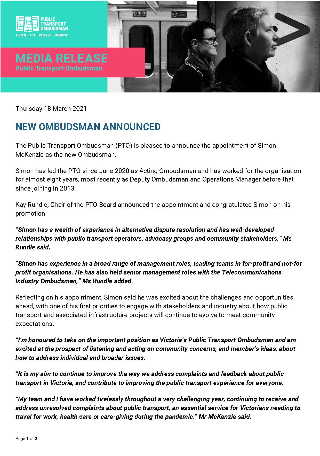 Thumbnail image shows the media release for the appointment of Simon McKenzie as the new Public Transport Ombudsman.