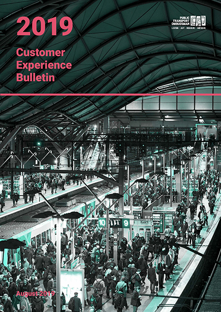 The 2019 PTO Customer Experience Bulletin shows people on a crowded platform at Southern Cross Station.