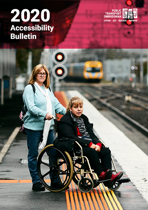 The 2019 PTO Accessibility Bulletin Cover shows an illustration depicting people with different accessibility needs standing in front of a tram, train and bus.