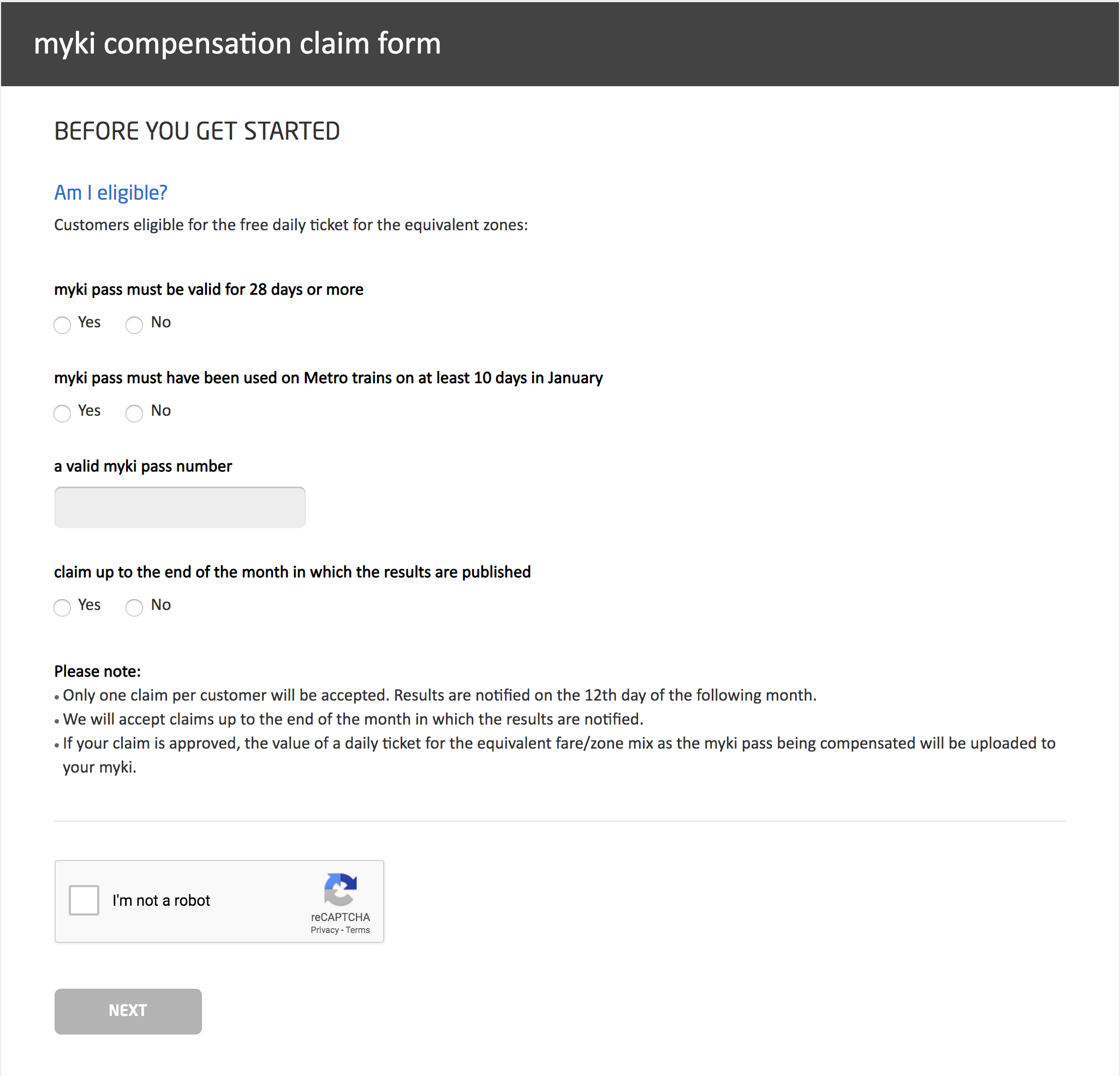 Image shows a screengrab of Metro Trains' online complaint form